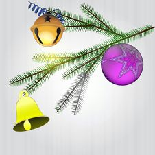 Free Spruce Branch With Christmas Decoration Stock Photos - 28026343