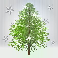 Classical Green Christmas Tree With Stars Stock Photos