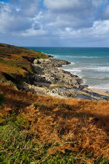 Free Fall Autumn On The Cornwall Coast England Royalty Free Stock Photos - 28027758