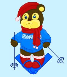 Cartoon Bear In A Cap And A Sweater Stock Images