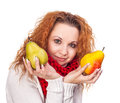 Free Red-haired Girl With A Pears Stock Photo - 28032970