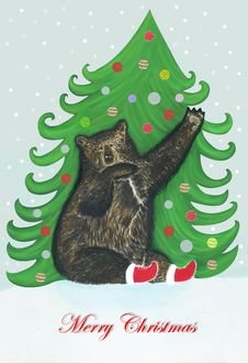 Free Christmas Bear Royalty Free Stock Photo - 28032145