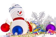 Snowman With Christmas Decorations Stock Photos