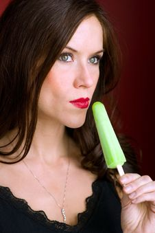 Free Green Ice Frozen Treat Adult Female Stock Image - 28037501