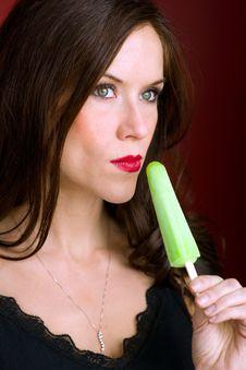 Free Green Ice Frozen Treat Adult Female Stock Image - 28037501