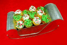 Cupcakes In Santa S Sleigh Stock Image
