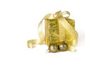 Free Gifts Box With Christmas Balls Isolated On White Stock Photography - 28041622