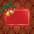 Free Christmas Card With Gold Bells And Tree Branch Stock Image - 28044591