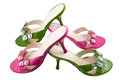 Free Two Pairs Pink And Green Shoes Royalty Free Stock Images - 28048209