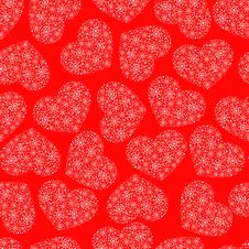 Free Red Seamless Pattern With Hearts Stock Images - 28041164