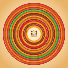 Free Retro Swirl 2013 Calendar Royalty Free Stock Photo - 28041615