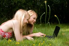 Free Girls On The Laptop Royalty Free Stock Images - 28043749