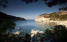 Torquois Hidden Bay In Rhodes Greece Royalty Free Stock Image