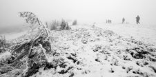Free Group Of People Trekking In Foggy Winter Landscape Royalty Free Stock Photos - 28044378