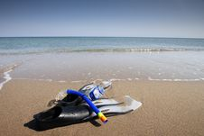 Free Snorkeling Set On The The Beach Royalty Free Stock Photo - 28044415