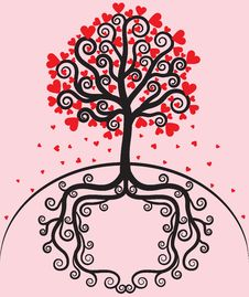 Tree With Leaves Shaped Heart Royalty Free Stock Image