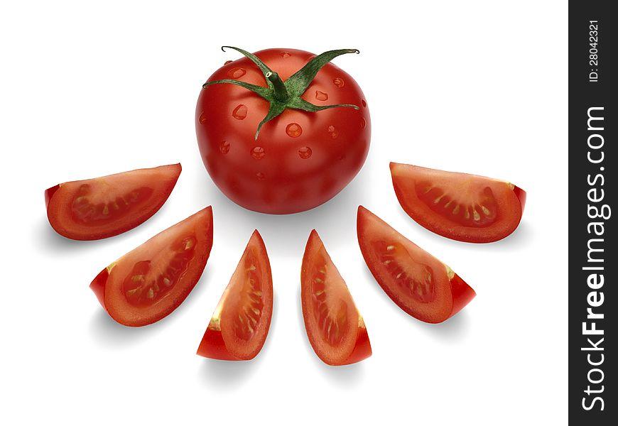 Ripe, red tomato.