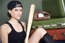 Baseball Player Holding Bat Near Luggage Royalty Free Stock Photo
