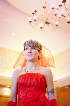 The Girl Bride In A Red Dress Stock Image