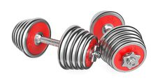 Iron Dumbbells Weight On White Background. 3d