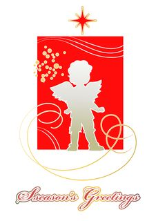 Free Christmas Card With Silhouette Of  Angel Stock Image - 28058911