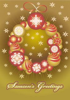 Wreath ​​of Christmas Gold Balls Stock Photography