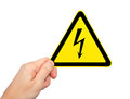 Free Male Hand Holding Sign Of Danger Voltage Symbol Royalty Free Stock Images - 28066889