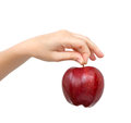 Free Woman Hand On Isolated Holding A Red Apple Royalty Free Stock Photos - 28066898