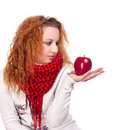 Free Girl With Red Apple Stock Photo - 28068400