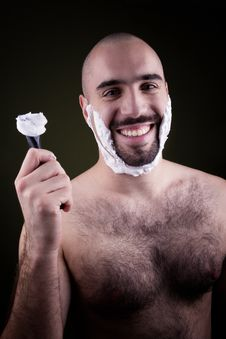Portrait Of Handsome Shaving Man Stock Images