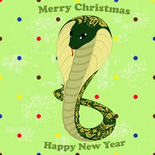 Free Green Snake With Floral Pattern Royalty Free Stock Photos - 28062688