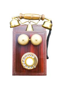 Free Antique Wooden Telephone Stock Image - 28064061