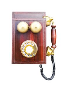 Free Antique Wooden Telephone Royalty Free Stock Photography - 28064087
