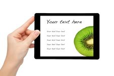 Free Woman Hand Hold A Mini Tablet With Kiwi Stock Photos - 28066893