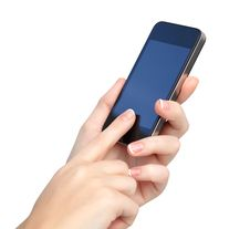 Free Female Hands Holding Phone And Touches The Screen Stock Image - 28066901