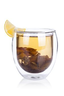 Cup Of Hot Green Tea With Lemon On White Stock Photos