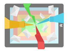 Abstract Pad Illustration With Flying Mails