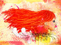 Free Grunge Floral Portrait Of Red Haired Girl Royalty Free Stock Photography - 28072027