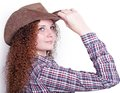Free Portrait Of Pretty Girl In A Cowboy Hat Stock Photos - 28076433