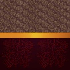 Pattern Background With Gold Ribbon Stock Photo