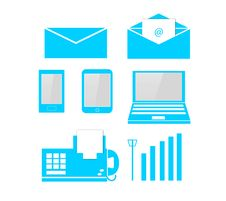 Free Telecom & Computer Soft Blue Icon Royalty Free Stock Images - 28072999