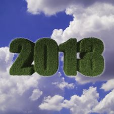 Free 2013 New Year Sign Of Green Grass With Blue Sky Royalty Free Stock Image - 28075516