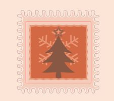 Free Christmas Stamp Tree And Snow Flake Royalty Free Stock Images - 28075539