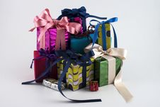 Free Gift Boxes On New Year Stock Photo - 28075970