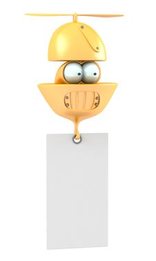 Free Cartoon Flying Character With Blank Banner Royalty Free Stock Image - 28077036