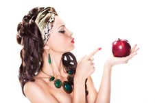 Free Woman Choosing A Healthy Apple - Dieting Concept Stock Photography - 28080222
