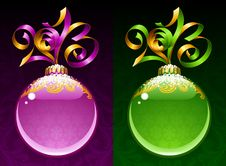 Free New Year Circle Frame. Purple And Green Stock Photography - 28080372