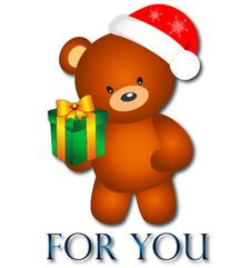 Free Bear With Christmas Present Royalty Free Stock Photos - 28082068