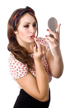 Free Young Woman Applying Lipstick Stock Image - 28082301