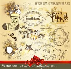Christmas Calligraphic Set Royalty Free Stock Images